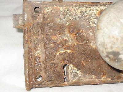 "4.5"" Antique Cast Iron Door Lock With Porcelain Knob 11"