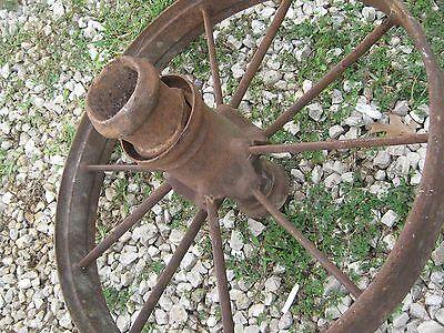 "Pair Vintage Rustic Iron Farm Implement Wheel Farm decor 28"" diameter 4"" thick 4"