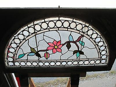 ~ GREAT ANTIQUE AMERICAN STAINED GLASS WINDOWS FLOWERS ~ 44 x 25 ~ SALVAGE 9