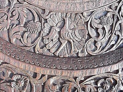 Large Beautifully Carved Antique S.e.asian  Padouk Side Table 9