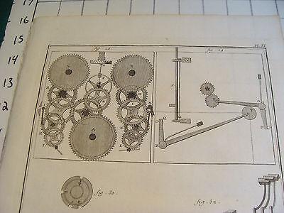 """Original engraving 1760's 10 1/2 x 16"""" PENDULE A QUARTS ET REPETITION ORDINAIRE 2"""