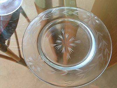 Vintage Etched Clear Glass Footed Compote/Candy Dish & Matching Small Plate 2