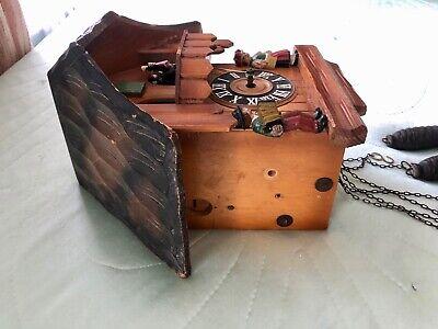 Vintage Hand Made Wooden Regula Musical Dancers Wheel Cuckoo Clock Germany 5