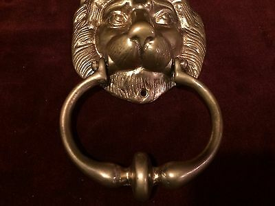 Vintage Brass DOOR KNOCKER Lion's Head 5