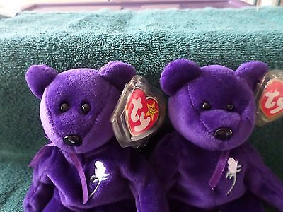 Rare ERROR 1997 Princess Diana Ty Beanie Baby 1st Edition P. E. PELLETS NO SPACE