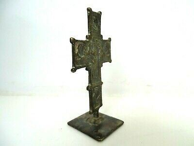 Ancient Byzantine Medieval bronze Cross Crucifix with bread stamp Prosphora 8