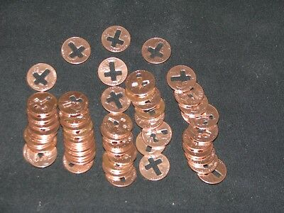 cross cut pennies, 50 pennies with a cross cut out of them 3