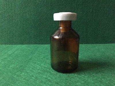 alte Apothekerflasche Braunglas OL FOENICULI Kunstoffstopfen Höhe 80 mm 60 Gramm 3