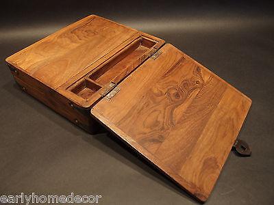 Antique Vintage Style Folding Document Writing Slope Lap Desk Campaign Box 2