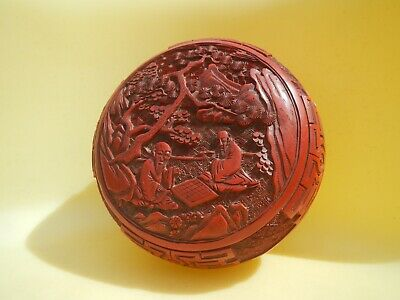 Antique Carved Chinese Cinnabar Lacquer Box Deep Vivid Red Figural Men Checkers 4