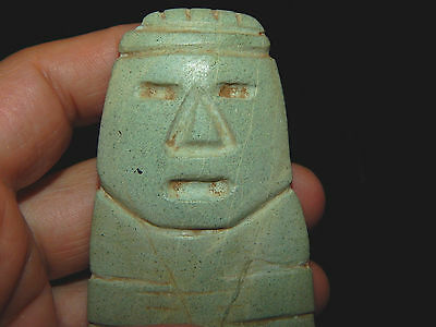 Pre-Columbian Large Anthropomorphic Axe God Celt, Central America, Authentic 7