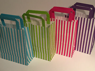 FLAT STRIPE Handle Coloured Paper Bags For Parties & Christmas Bags 3
