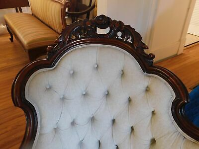 """Victorian Carved Sofa Mahogany Off-White Linen Type Fabric 40""""H 83 3/4""""W 3"""