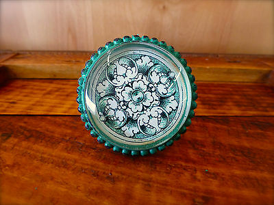 8 LG GREEN GLASS FLORAL VINTAGE DRAWER CABINET PULLS KNOBS shabby chic hardware