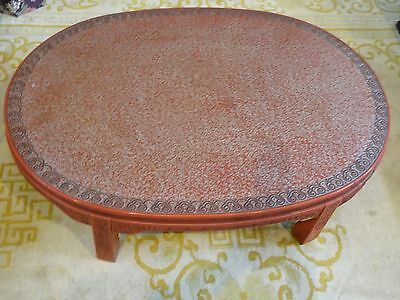 ANTIQUE LATE 19 c. CHINESE LACQUER INTRICATE CARVED CINNABAR COFFEE TABLE 2