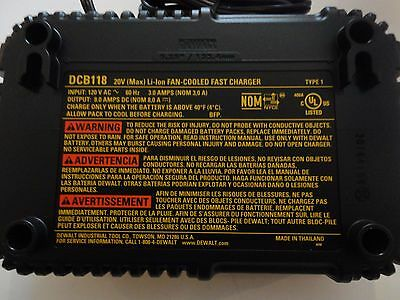 DEWALT DCB118 20V 60V MAX FLEXVOLT Lithium Ion Fan Cooled Fast Charger DCB118B 3