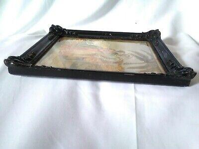 Antico Quadro 32,5x26 MEZZO PUNTO cornice in legno vintage motivo religioso 10