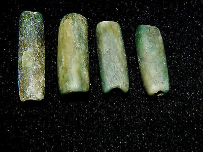 Pre-Columbian Blue Green Jade Tubular Beads, Set of 4, Authentic 3