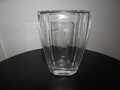 Orrefors Nils Landberg Engraved Woman Leaves Crystal Art Vase Signed