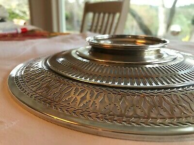 """Antique Sterling Silver Watson Co Reticulated Sandwich Plate Tray 9.5"""" Stunning 5"""