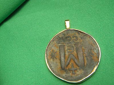 Mounted in 14K Gold Byzantine bronze 491-518AD anastasius 1st AE Follis Coin 8