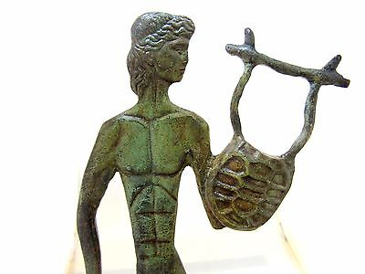 Ancient Greek Bronze Olympian God Pantheon Sculpture Statue Apollo With A Harp 4