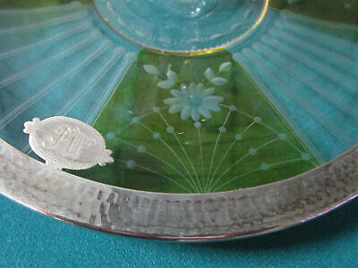 Antique Sterling  Etched Glass Footed Dish Coasters Bowl Cake Plate Shaker Pick 11