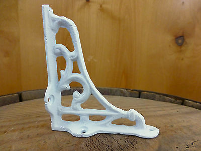 "2 SMALL WHITE ANTIQUE-STYLE 4"" CAST IRON SHELF BRACKETS garden rustic SCROLL 5"