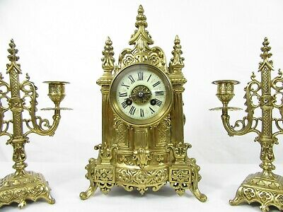 Cathedral French Mantel Clock Garniture set by Vincenti c1855 2
