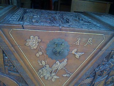 VINTAGE CHINESE CAMPHOR WOOD CARVED TRUNK CHEST with Mother of Pearl Figures