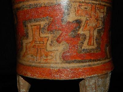 Pre-Columbian Polychrome Three-Footed Mayan Ceramic Pot, Authentic, Rare 3