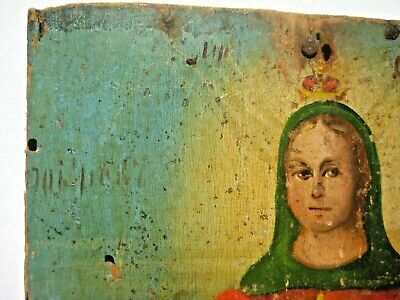 Original 19th century Antique Orthodox Icon Pokrov Russian Relic 7