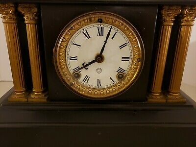 Antique Working 19th C. ANSONIA Victorian Black Iron Pillar Column Mantel Clock 2
