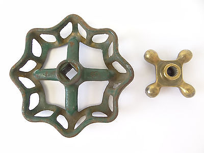 Two Cast Iron & Brass Hose Spigot Knobs Handles Hardware Parts Design Plumbing 7