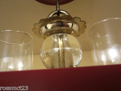 Vintage Lighting 1940s red hanging light   More Available 3