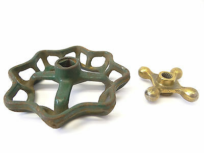 Two Cast Iron & Brass Hose Spigot Knobs Handles Hardware Parts Design Plumbing 8