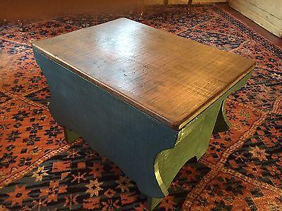 Early Six Plank Pine Footstool Storage Stool Sewing Storage Box 10