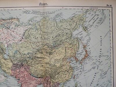 Landkarte von Asien, Politische Übersicht, Otto Herkt um 1908