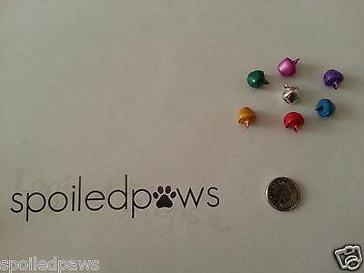10 x Silver Gold Red Blue Purple Yellow Green Pink Cat Bells/ Jingle Bells BNIB 2