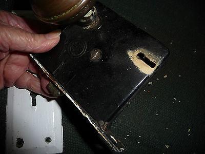 #56J antique vtg 1 metal door knob & 1 white porcelain w back plate & lock 3