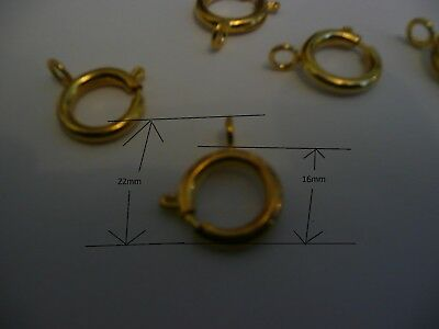 QUALITY 5 large 16mm BOLT RING SPRING CLASPS gold  PLATED on brass
