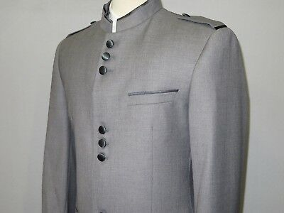 Mens APOLLO KING Banded Collarless suit Chinese Mandarin Wide leg AG92 navy blue