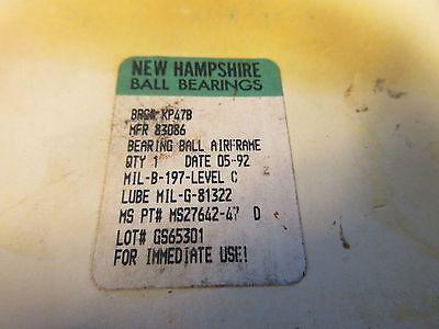 New Hampshire Control Ball Bearing,  KP47B, NHBB, Teflon Seals (MS27642-47)