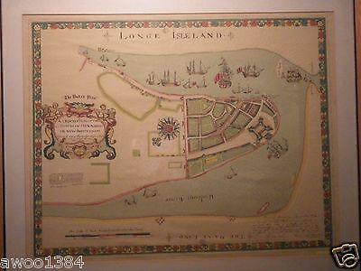 1661 Map New Amsterdam New York Duke's Plan Valentines Manual 1859 Argosy Framed 2