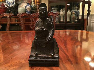 A Chinese Ming Dynasty Bronze Statue with Original Wooden Stand and Zitan Box. 10