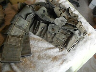 WW2 USGI  M-1 garand cartridge belt 10 pocket klikit pull early war 4