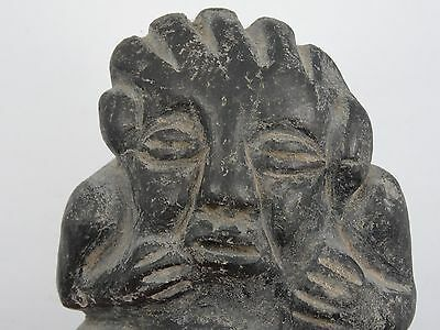 "Antique Pre-Columbian Guatemala Seated Shaman Figure ~ 3.75"" 11"