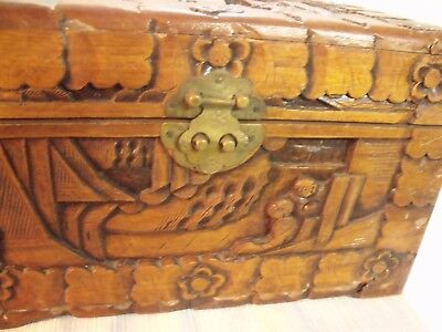 "Ornate Antique Chinese Hand Carved Camphorwood 12"" Dresser Box 3"