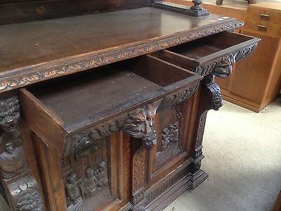 Carved Victorian Oak Library Bookcase Angel Dresser GreenMan LionsHead PussyOak1 12