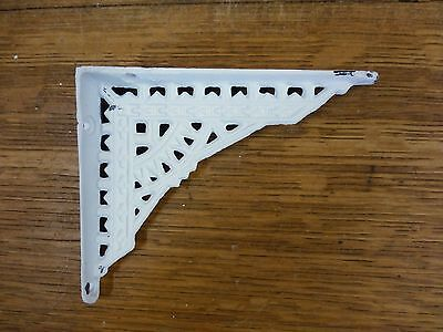 "2 SMALL WHITE ANTIQUE-STYLE 5"" CAST IRON SHELF BRACKETS garden rustic EASTLAKE 4"